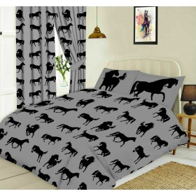 Black Horse Silhouette Design Slate Grey Double Bed Duvet Cover Bedding Set
