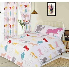 Coloured Horses Silhouette Design White Single Bed Duvet Cover Bedding Set