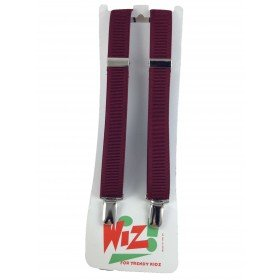 Children's Plain Maroon Braces By Wiz