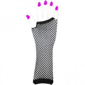 Two Long Neon Fishnet Fingerless Gloves one size - Black