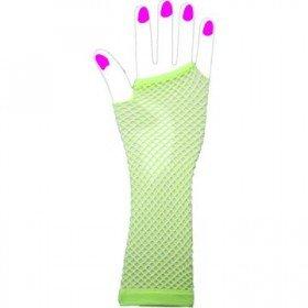 Two Long Neon Fishnet Fingerless Gloves one size - Green