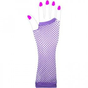 Two Long Neon Fishnet Fingerless Gloves one size - Purple