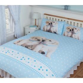 Double Size Luke & Leia Cute Labrador Puppies Design Reversible Duvet Cover & Matching Pillowcases