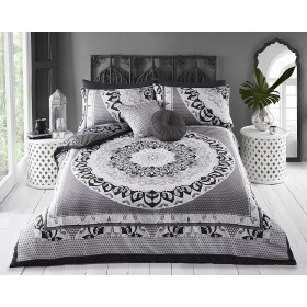 Double Size Mandala Print Black Grey White Design Duvet Cover & Matching Pillowcases