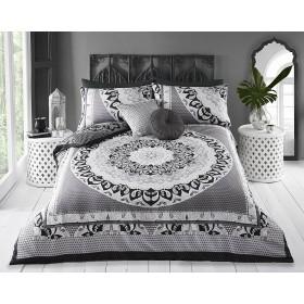 Super King Size Mandala Print Black Grey White Design Duvet Cover & Matching Pillowcases