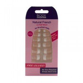 Body Collection Natural French Half Moon Nails Short Square PreGlued 1074