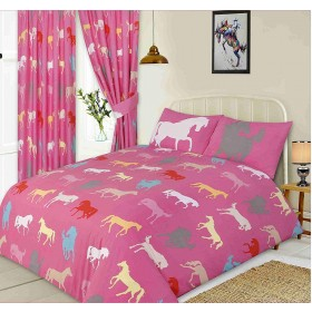 Horse Silhouette Design Pink Single Bed Duvet Cover Bedding Set