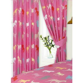 "66"" x 72"" Horse Silhouette Design Pink Pencil Pleat Curtains With Tie Backs"