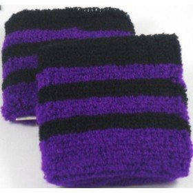 Black and Purple Striped Sweatband / Armband