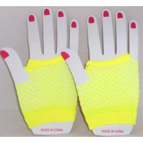 Short Neon Fishnet Fingerless Gloves one size - Yellow