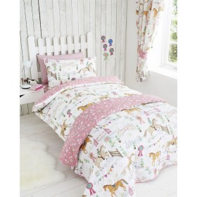 Show Jumping Pony Horse Design Pink Reverible Double Bed Duvet Cover Bedding Set