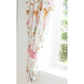 "66"" x 72"" Show Jumping Pony Horse Design Pink Pencil Pleat Curtains With Tie Backs"