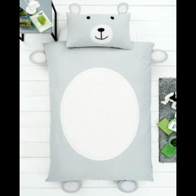 Single Size 3D Teddy Bear Reversible Design Duvet Cover & Matching Pillowcase