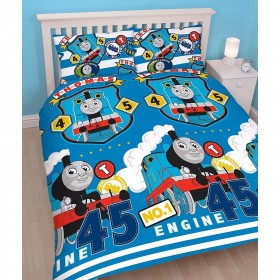 Double Size Thomas The Tank Engine Train Patch Design Rotary Duvet Cover & Matching Pillowcases