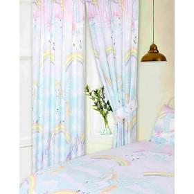 "66"" x 72"" Rainbow Flying Unicorn Pegasus Design Curtains & Matching Tie Backs"