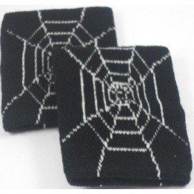 Black with Spiderweb Cobweb Design Sweatband / Armband