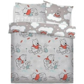 Double Size Winnie The Pooh & Piglet Design Duvet Cover & Matching Pillowcases